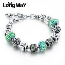 Green Murano Glass Bead Bangle Adjustable Girls Silver Plated Charm Bracelet