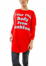 Wildfox Women's Junk Food Body Tuscany Tunic Jumper Red Size XS RRP £97 BCF68