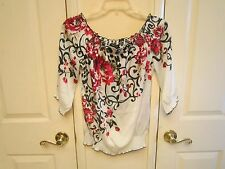 WHITE HOUSE BLACK MARKET Beautiful Red Rose Satin Peasant Blouse Top SMALL EUC!