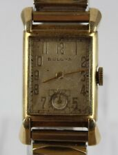"1948 Bulova ""Excellency"" 21 Jewels 7AK Tank Gold Filled Watch Working LOT#1225"