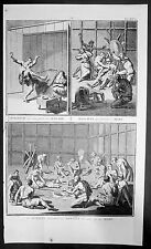 1723 Picart Antique Print of 3 Different Ceremonies of Canadian Indians, Scarce