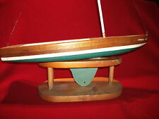 Vtg toy boat wooden Pond sailboat lake or pool solid wood toy folk art hand made