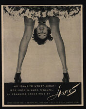 1954 Sexy-Long Legged Woman Bends Over In HANES Seamless Stockings VINTAGE AD