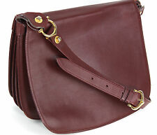 Vintage 'Les Must de Cartier' Rd 1975, Bordeaux Oxblood Leather Saddle Bag Purse