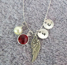 Wing Memorial Remembrance Necklace Silver Pewter Angel Wing Charm Necklace