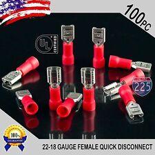 """100 Pack 22-18 Gauge Female Quick Disconnect Red Vinyl Crimp Terminals .187"""" US"""