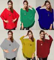 Stylish Ladies Loose Batwing  Crew Neck Quality Knitted Top / Jumper Size