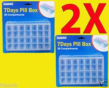 Lot of Two Pill Box 28 Small Compartment 7 Day Medicine Storage Organizer Case