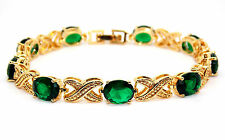 Yellow Gold Plated Emerald 19.53ct Tennis Bracelet