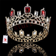 Silver King/Queen Crystal Ruby Circle Crown Pageant Prom Tiaras Headbands Crown