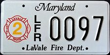 """MARYLAND """" LAVALE FIRE DEPARTMENT FIREFIGHTER """" RARE """" MD Graphic License Plate"""