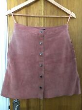 Topshop Suede Leather Pink Skirt UK 10