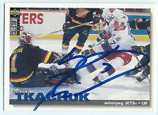 Keith Tkachuk signed 1995-96 Upper Deck card Winnepeg Jets autograph #168