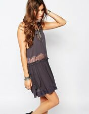 FREE PEOPLE Intimately Charcoal Grey Two For Tea Slip Lace Dress S/P NWOT