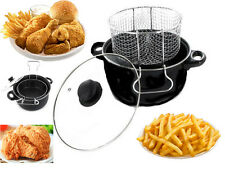 BLACK NON STICK CHIP PAN SET FRYER DEEP FAT FRYING BASKET POT W GLASS LID 2.5L