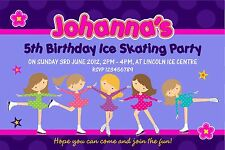 Personalised Birthday Invitations Ice Skating Party x 5
