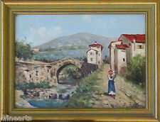 Alessandro SANI - Village Scene - Oil on Board - Signed - Listed Artist