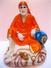 SHIRDI SAI BABA STATUE HANDMADE OF WHITE POLY MARBLE HOME DECOR  RELIGIOUS EDH