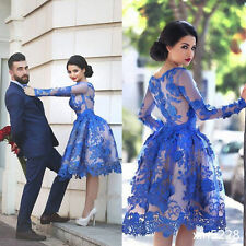 Blue Lace Knee-length Long Sleeve Short Bridal Gowns Arabic Wedding Dresses