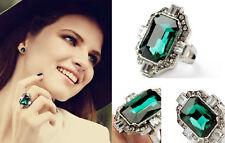 R224 Forever 21 Rhinestone Green Gem Crystal Brides Wedding Accessories Ring US