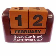 Mahogany wood carved christian calendar Every day is a gift from God perpetual