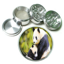 Panda Aluminum Grinder D2 63mm 4 Piece Giant Bear Black and White Cute Fluffy