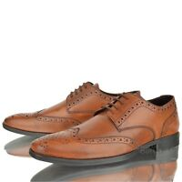 Mens Real Leather Italian Brogue Casual Formal Wedding Party Office Tan Shoes