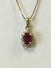 14k Yellow Gold Oval Ruby Pendant with Diamond Halo