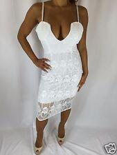 Connie's Spaghetti Strap Deep Plunge Neckline Stretch Lace White Midi Dress S/M