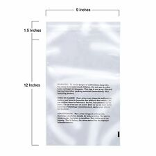 9x12 Poly Bags Flexible Plastic Resealable with Suffocation Warning Pack of 200