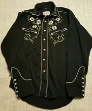 ROCKMOUNT Ranch Wear Western Shirt Women's S Black Embroidered Pearl Snap A75