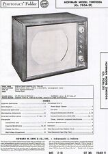 1956 Service Photofact Manual w-Schematic HOFFMAN 21M1100A 703A-21 Television