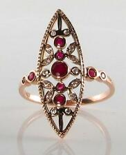 LONG 9CT ROSE GOLD VINTAGE INSP INDIAN RUBY & DIAMOND RING FREE RESIZE