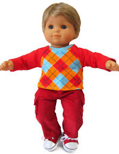 2 PC Red Corduroy Pants & Argyle Sweatshirt for Bitty Baby Boy Twin Doll Clothes