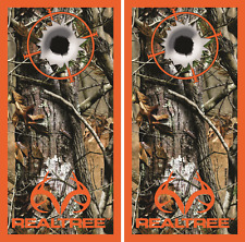 Realtree Camo Target Bullet Hole Cornhole Board Skin Wrap Decal Set bag toss