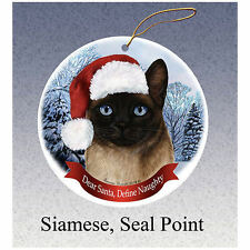 Siamese Seal Point Cat Howliday Porcelain China Dog Christmas Ornament