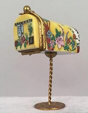 Rochard Limoges Trinket Box - Yellow Floral Mail Box on Wire Stand 318