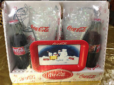 1997 Coca-Cola Collectible Gift with Bottles / Glasses / Polar Bear Tray