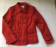 OLD NAVY RED WOOL DOUBLE BREASTED PEA COAT JACKET WOMENS SIZE M - GUC