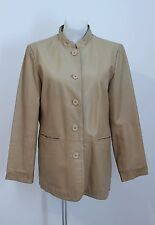 WOMENS COLLECTION JACKET 100 % GENUINE LEATHER BLAZER COAT BEIGE SIZE UK 14 VGC