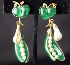 CHRISTIAN DIOR Gripoix Poured Glass Pea Pod Earrings 50s
