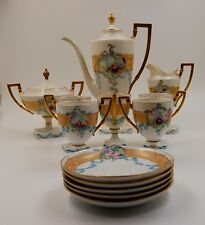 ANTIQUE AMERICAN BELLEEK WILLETS & LIMOGES  ROSES HAND PAINTED TEA COFFE SET