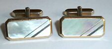 A VINTAGE 1950s PAIR OF GOLD TONE T BAR CUFFLINKS SET WITH MOTHER OF PEARL