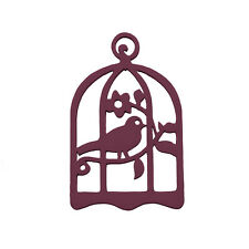 Hand Carved Wood Bird Cage Pendant Maroon 32x50mm - Pack of 1 (M97)