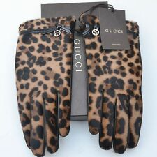GUCCI New sz 8 Authentic Womens Leather Fur GG Animal Print Designer Gloves
