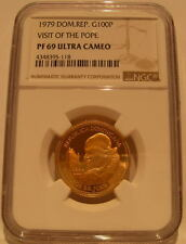 Dominican Republic 1979 Gold 100 Pesos NGC PF-69UC Visit of The Pope
