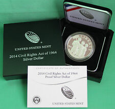 2014 P Civil Rights Act of 1964 Proof 90% Silver Dollar US Mint Coin Box and COA