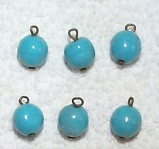 VINTAGE JAPANESE HAND MADE TURQUOISE GLASS BEADS DROPS 14  BLUE