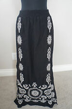 NEW Johnny Was JWLA Embroidered Side Slit Smocked Waist Long Maxi Skirt Black S