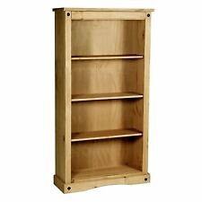 Corona Medium Bookcase 4 Shelves Mexican Solid Waxed Pine Wood Storage Unit